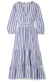 Wrap-effect striped cotton dress