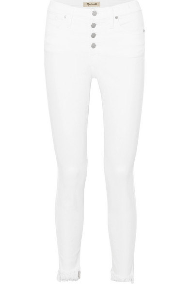 Madewell Cropped frayed high-rise skinny jeans