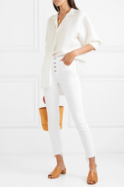 Cropped frayed high-rise skinny jeans