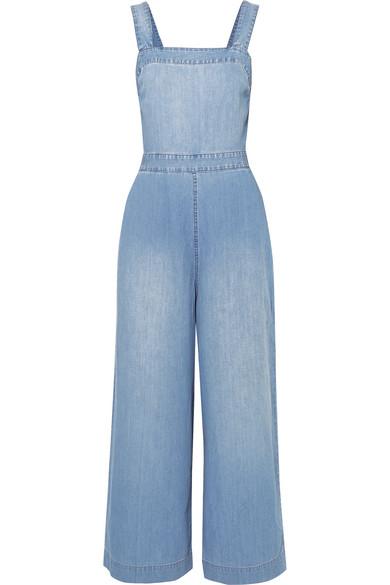 MADEWELL Open-Back Denim Jumpsuit in Blue