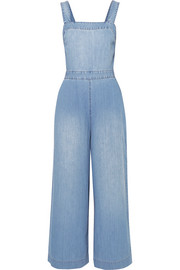 Open-back denim jumpsuit