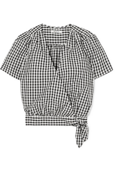 MADEWELL Gingham Cotton-Poplin Wrap Top in Black