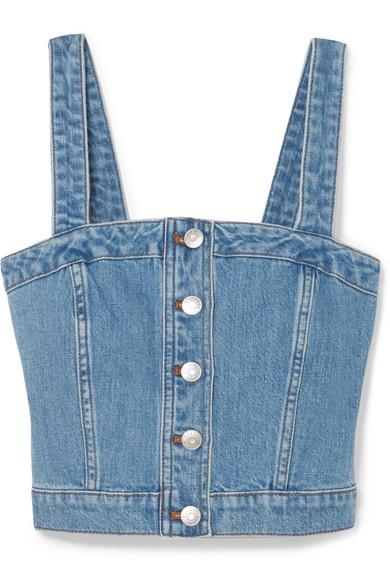 Denim Button-Front Crop Top, Dumont Wash