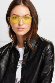 Mason square-frame pale gold-tone sunglasses