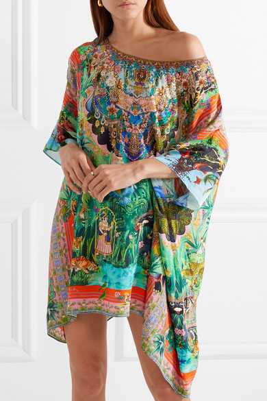 Camilla The Long Way Home Decorated Kaftan In Printed Crêpe De Chine Silk From
