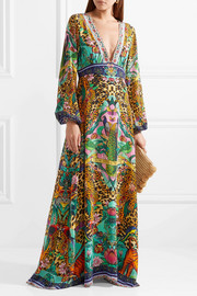 The Long Way Home embellished printed washed-silk maxi dress