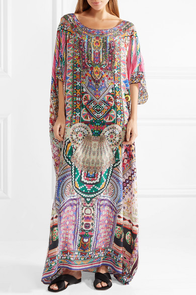Camilla The Long Way Home verzierter Kaftan aus bedrucktem Crêpe de Chine aus Seide