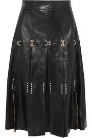 Alexander McQueen Embellished pleated leather midi skirt