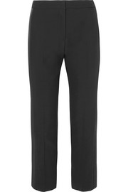 Alexander McQueen Satin-trimmed crepe straight-leg pants