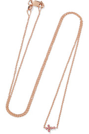 Mini Cross 18-karat rose gold sapphire necklace