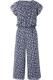 Pleated floral-print georgette jumpsuit