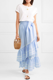 Lace-trimmed striped seersucker maxi skirt