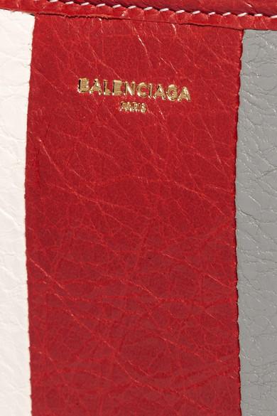 Balenciaga Bazar gestreiftes Portemonnaie aus strukturiertem Leder