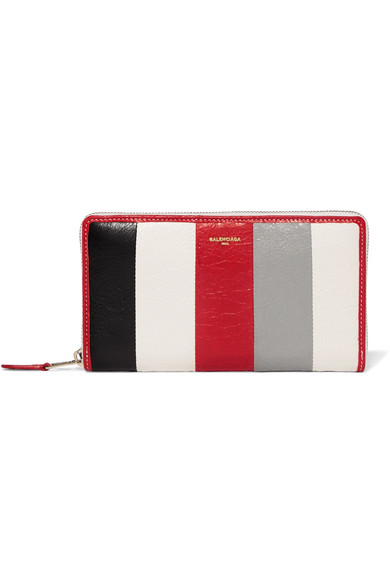 Bazar Striped Textured-leather Wallet - one size Balenciaga 5ZPPBFup