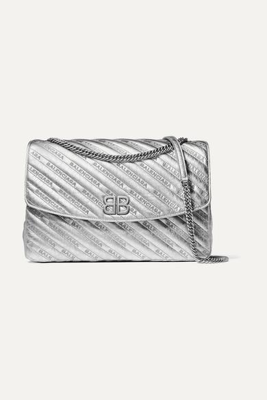 Balenciaga BB Round große Schultertasche aus strukturiertem Metallic-Leder mit Stickerei