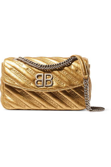 Balenciaga - Bb Round Small Embroidered Metallic Textured-leather Shoulder Bag - Gold