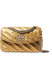 BB Round small embroidered metallic textured-leather shoulder bag