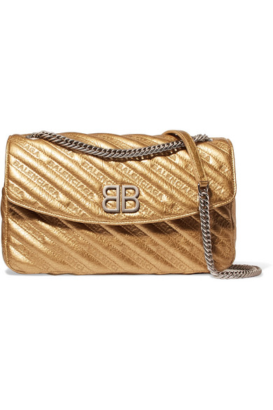 Balenciaga - Bb Round Embroidered Quilted Metallic Textured-leather Shoulder Bag - Gold