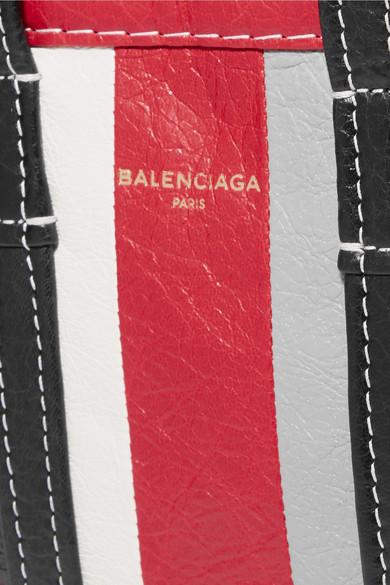 Balenciaga Bazar XXS gestreifte Tote aus strukturiertem Leder