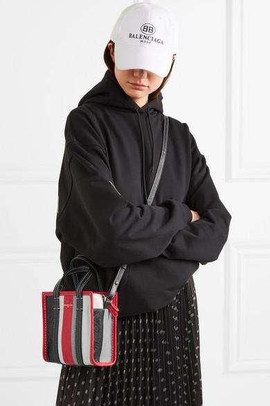 9e7c96380 Balenciaga | Bazar XXS striped textured-leather tote | NET-A-PORTER.COM
