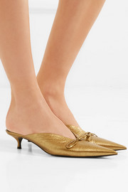 Knife metallic textured-leather mules