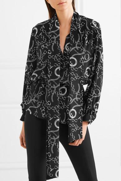 c0896167ca316a Balenciaga. Pussy-bow printed silk crepe de chine blouse