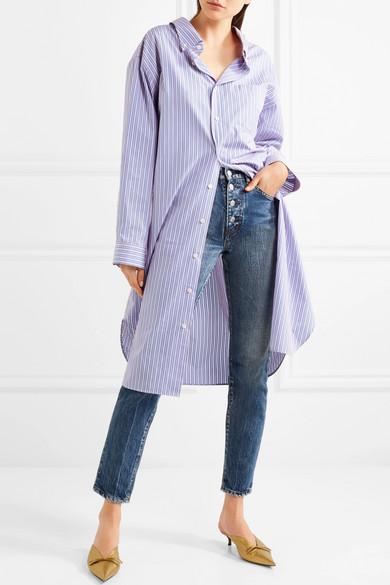 Balenciaga Gestreiftes Hemdblusenkleid aus Baumwollpopeline in Oversized-Passform