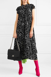 Printed silk-crepe midi dress