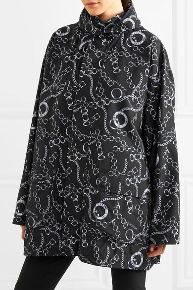 Balenciaga Oversized-Windbreaker-Jacke aus bedrucktem Shell mit Kapuze