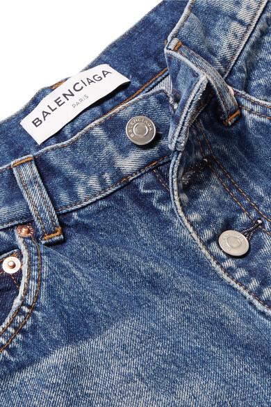 Balenciaga Halbhohe Jeans mit geradem Bein in Distressed-Optik