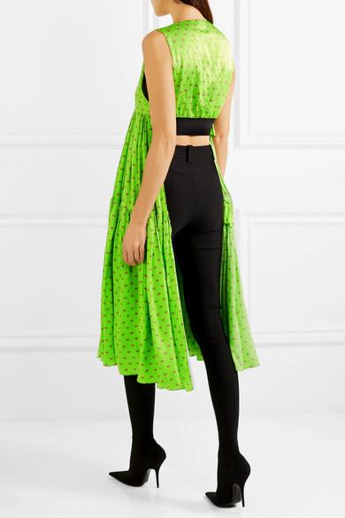 Balenciaga Apron bedrucktes Kleid aus glänzendem Jacquard aus Seide mit freier Rückenpartie