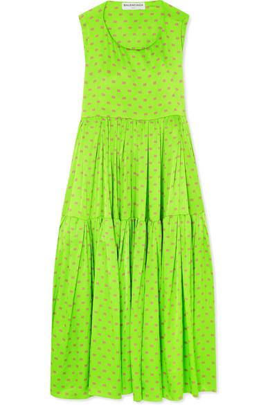 Apron Open-back Printed Silk-satin Jacquard Dress - Green Balenciaga iM9WhTwdJ