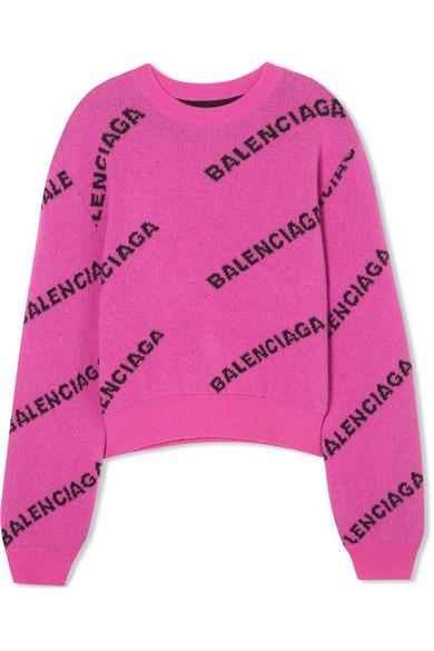 Balenciaga - Intarsia Virgin Wool Sweater - Pink