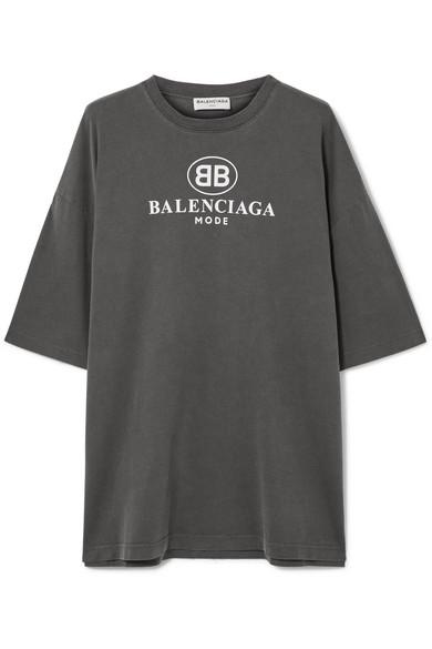 Buy Online Authentic Printed Cotton-jersey T-shirt - White Balenciaga Cheap Footlocker Finishline Cheap Sale Reliable 8O4UgrcI