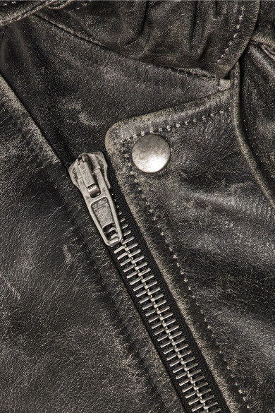 Balenciaga Scarf Biker Jacket Of Leather In Distressed-optics