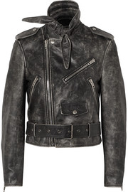 Scarf distressed leather biker jacket