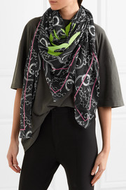 Printed modal and silk-blend voile scarf