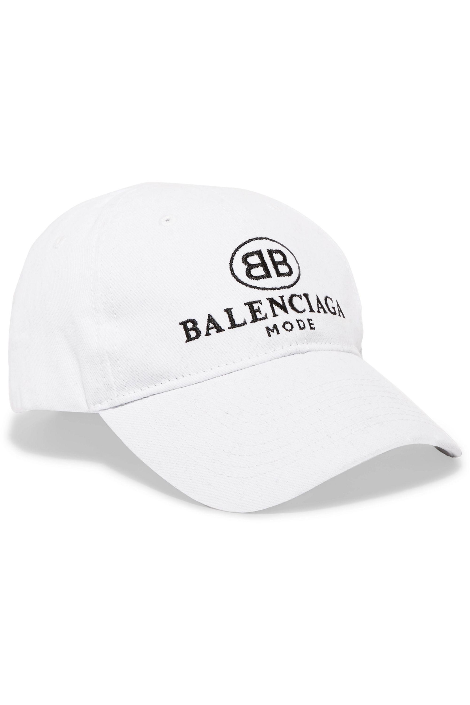 White Embroidered cotton-twill baseball
