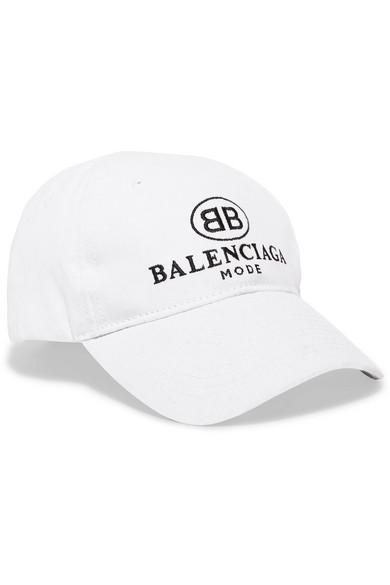 f279dd6be1323 Balenciaga Embroidered Cotton-Twill Baseball Cap In White ...