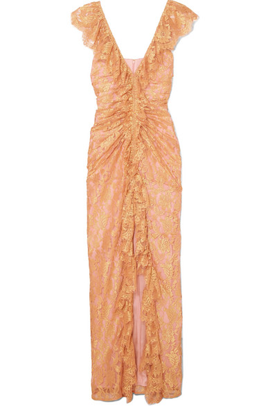 Notion Ruffled Metallic Chantilly Lace Gown by Alice Mc Call