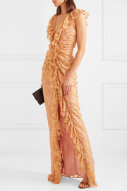 Notion ruffled metallic Chantilly lace gown