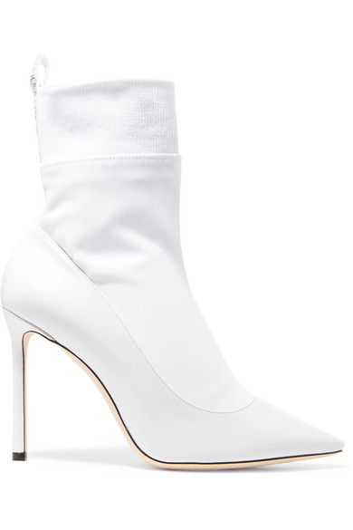 Brandon 100 White Nappa Leather And Stretch Fabric Sock Ankle Boots