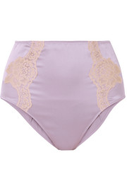 Lace-trimmed silk-satin briefs