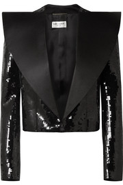 Saint Laurent Veste de smoking raccourcie en laine à sequins et en satin