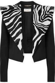 Cropped sequin-embellished wool-crepe tuxedo blazer