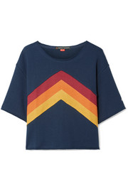 Cropped paneled cotton-jersey T-shirt