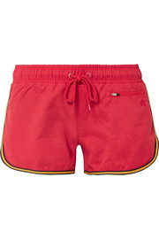 Striped washed-twill shorts