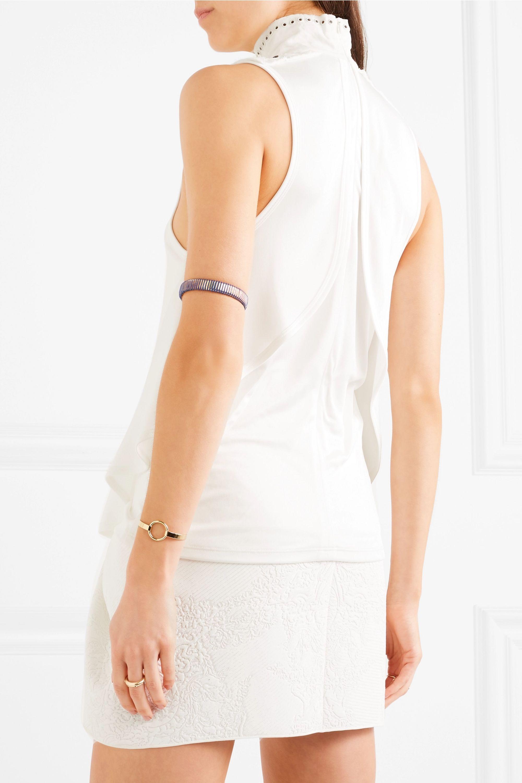 Chloé Rollkragenoberteil aus glänzendem Jersey mit Lochstickerei und Verzierungen