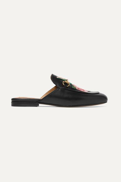 Gucci Shoes Princetown appliquéd horsebit-detailed leather slippers