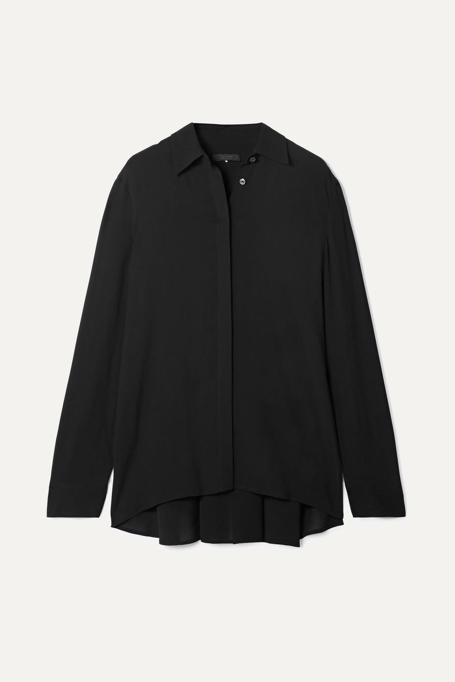The Row Carla pleated chiffon blouse